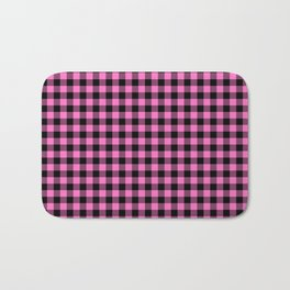Classic Pink Country Cottage Summer Buffalo Plaid Bath Mat