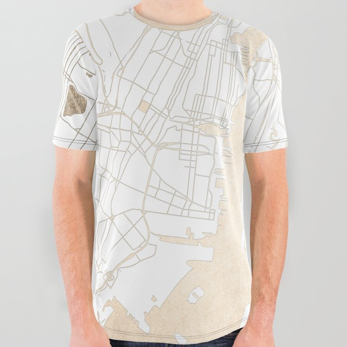 d5e70e99a29 New York City White on Gold All Over Graphic Tee by mapmaker | Society6