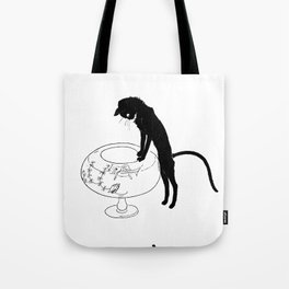 """Théophile Steinlen """"Cats: Pictures without Words (Cat and fishbowl)"""" (1) Tote Bag"""