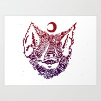 infamous Art Prints featuring INFAMOUS BAT HEAD by Mark Christopher
