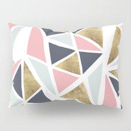 Modern geometrical pink navy blue gold triangles pattern Pillow Sham