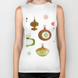 Red and Green Vintage Oraments Biker Tank