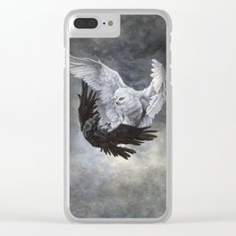 Yin Yang Owl and Raven Clear iPhone Case