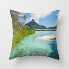 Bora Bora Mountain View Throw Pillow