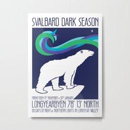 Svalbard Dark Season Travel Poster - Norway Metal Print