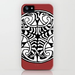 Celtic Art - Interlaced Birds - on Red iPhone Case