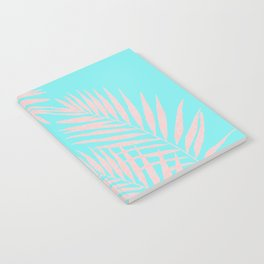 Abstract modern pink Tropical Exotic Palm Leaves on aqua Notebook