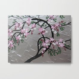 Cherry blossom with green leaves Metal Print