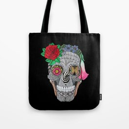 Lady Skull ready to party Tote Bag