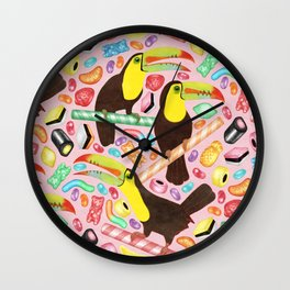 Toucandy - a sugary paradise with jelly beans and licorice surround tropical toucans on candy canes Wall Clock