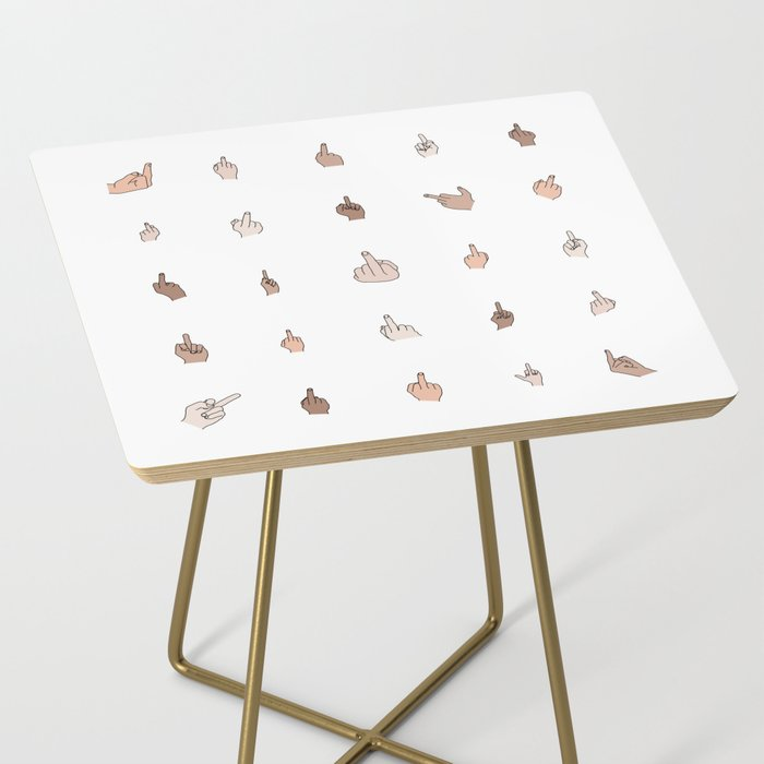 Middle Fingers Colored With Outlines Side Table