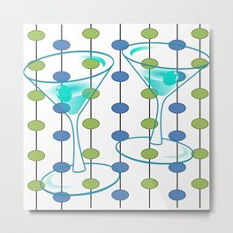 Mid-Century Modern Atomic Art Cocktails 1.0 Metal Print