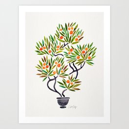 Bonsai Tree – Orange Fruit Art Print