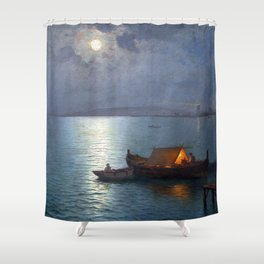 Coastal Marine Seascape Moonlit Boat and Lighthouse landscape painting by Guillermo Gomez Gil Shower Curtain