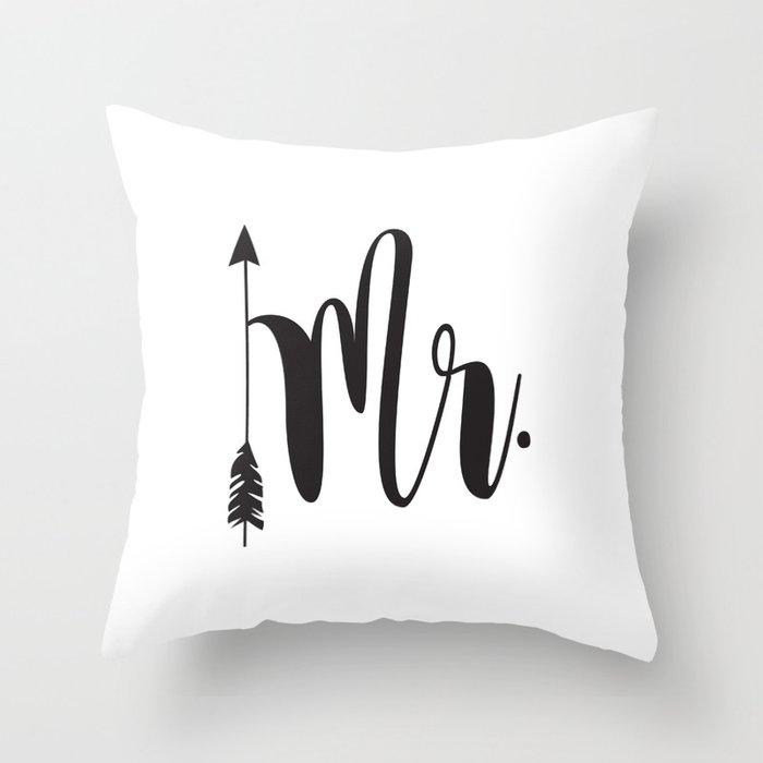 Mr Script Arrow Engaged Married Mr Mrs Throw Pillow By Interesting Mr And Mrs Decorative Pillows