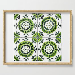 Green and White Circular Portuguese Tile Serving Tray