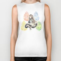 agnes Biker Tanks featuring Bravely Default Agnes & Crystals Watercolor by Aini
