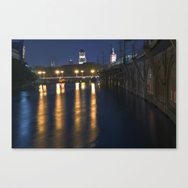 Berlin Night Skyline on the River Spree Canvas Print