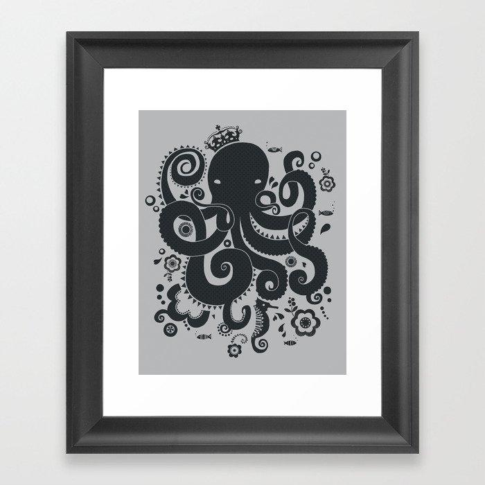 Octopus print Framed Art Print