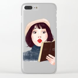French woman with book Clear iPhone Case