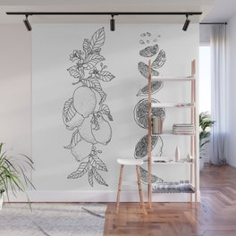 Citrus Branch of Lemons and Slices of Fruit Wall Mural