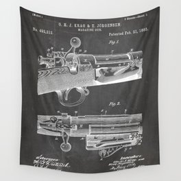 Bolt Action Rifle Patent - Repeating Receiver Art - Black Chalkboard Wall Tapestry