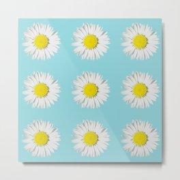 Retro Daisy · Blue Light Metal Print