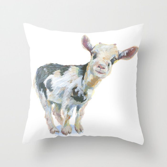 Smiley  Goat Throw Pillow