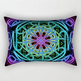 Rainbow Color Neon Mandala Rectangular Pillow