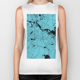 Amsterdam Turquoise on Black Street Map Biker Tank