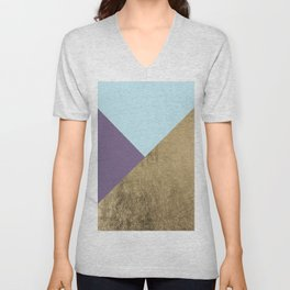 Elegant geometrical purple teal faux gold color block Unisex V-Neck