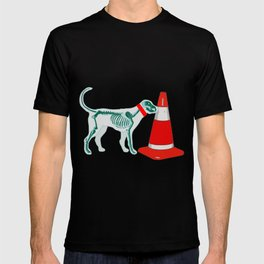 DOG SNIFING TRAFFIC RUBBER CONE T-shirt