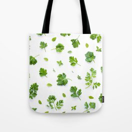 Herbs on White - Landscape Tote Bag
