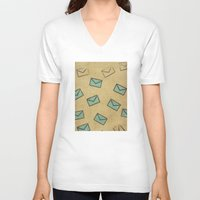 letter V-neck T-shirts featuring Letter by sinonelineman