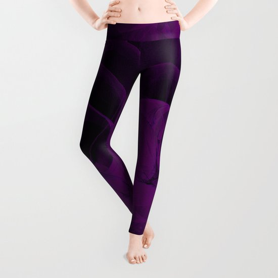 Cosmic Fractal dark black and purple Leggings