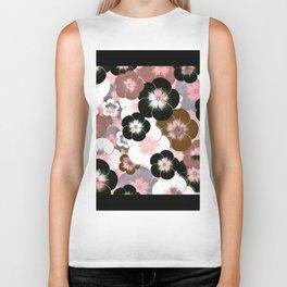 Abstract mauve pink brown black floral Biker Tank