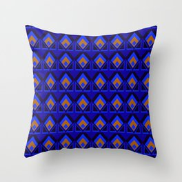 Blue and Orange Pattern Throw Pillow