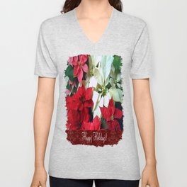 Mixed color Poinsettias 1 Happy Holidays S5F1 Unisex V-Neck