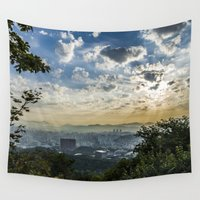 seoul Wall Tapestries featuring Seoul Sunrise (Namsan) by Clayton Jones