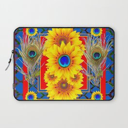 RED-BLUE PEACOCK JEWELED SUNFLOWERS DECO ABSTRACT Laptop Sleeve
