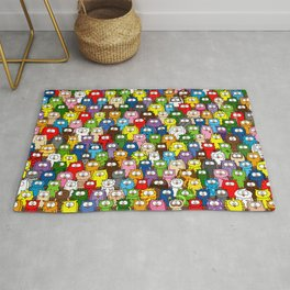 colorful crowd of owls Rug