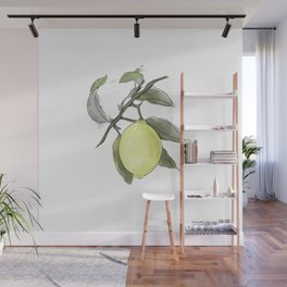 Original Lemon Watercolor Painting #2 Wall Mural