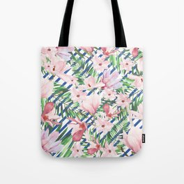 Modern blue white stripes blush pink green watercolor floral Tote Bag