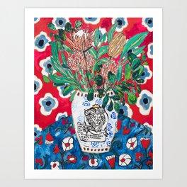 Rex Manning Day Red Floral Still Life with Lion Vase Art Print