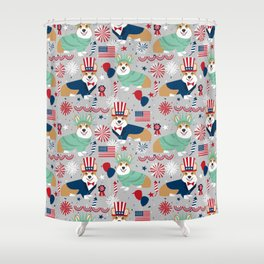Corgi July 4th patriotic dog breed USA pet friendly custom dog breed pattern Shower Curtain