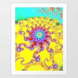 Tropical Octopus Fractal Art Print
