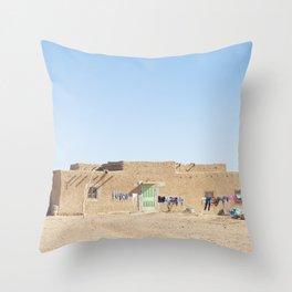 Sahara Desert Home in Morocco Throw Pillow