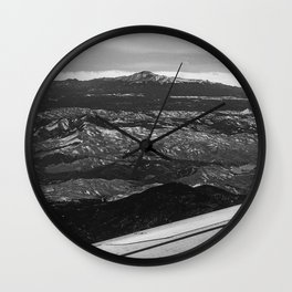 5280 Snowcap // Grainy Black & White Airplane Wing Landscape Photography of Colorado Rocky Mountains Wall Clock