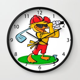 Funny bird. Golf. Wall Clock