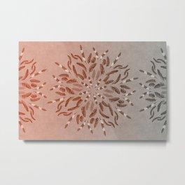 Apricot Gray Feather Mandala Metal Print